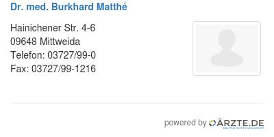 Dr med burkhard matthe