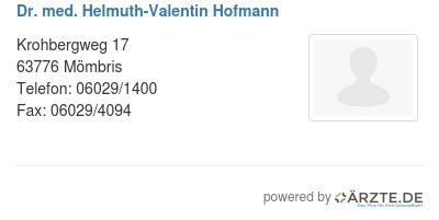 Dr med helmuth valentin hofmann