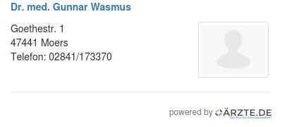 Dr med gunnar wasmus