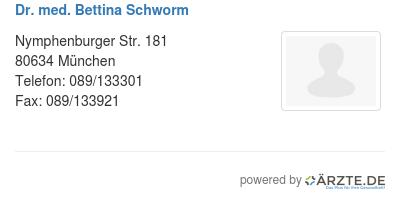 Dr med bettina schworm