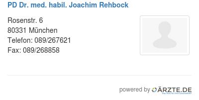 Pd dr med habil joachim rehbock