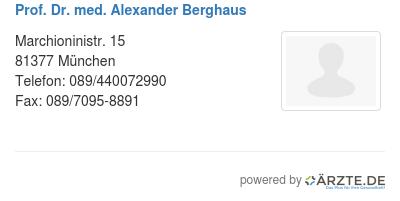 Prof dr med alexander berghaus