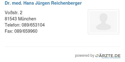 Dr med hans juergen reichenberger
