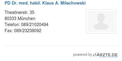 Pd dr med habil klaus a milachowski