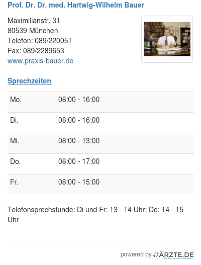 Prof dr dr med hartwig wilhelm bauer