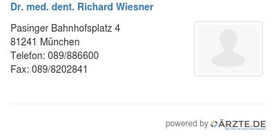 Dr med dent richard wiesner