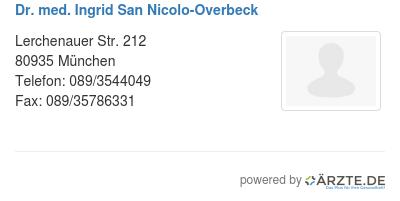 Dr med ingrid san nicolo overbeck