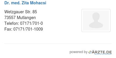 Dr med zita mohacsi