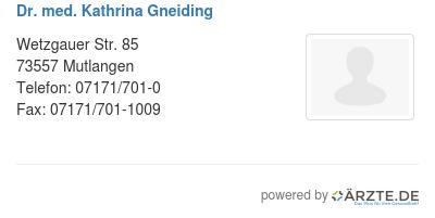 Dr med kathrina gneiding