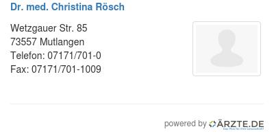 Dr med christina roesch