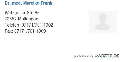 Dr med mareike frank