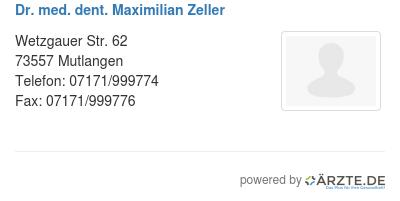 Dr med dent maximilian zeller