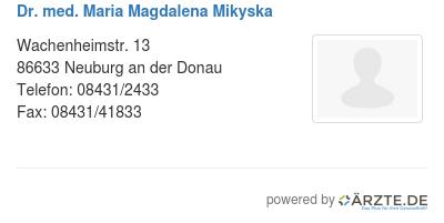 Dr med maria magdalena mikyska