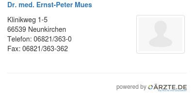 Dr med ernst peter mues