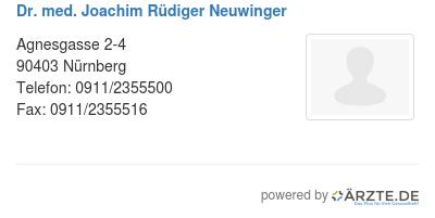 Dr med joachim ruediger neuwinger