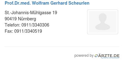 Prof dr med wolfram gerhard scheurlen