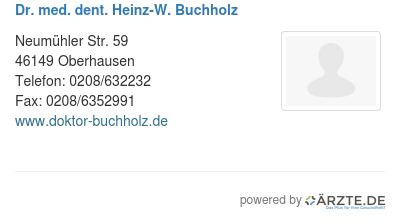 Dr med dent heinz w buchholz