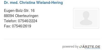 Dr med christina wieland hering