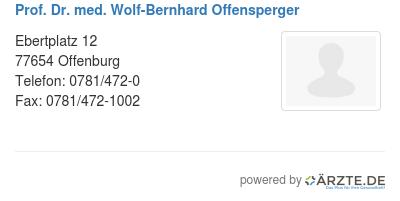 Prof dr med wolf bernhard offensperger