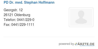 Pd dr med stephan hoffmann