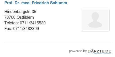 Prof dr med friedrich schumm