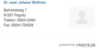 Dr  med  Johann Wolfrum in 91257 Pegnitz FA für