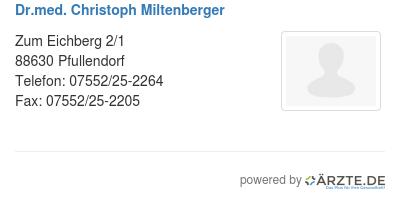 Dr med christoph miltenberger