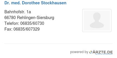 Dr med dorothee stockhausen