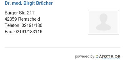 Dr med birgit bruecher
