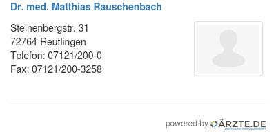 Dr med matthias rauschenbach