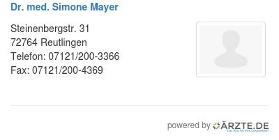 Dr med simone mayer