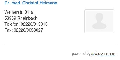 Dr med christof heimann