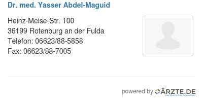 Dr med yasser abdel maguid