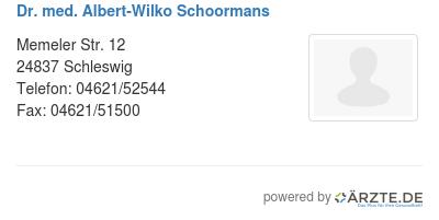 Dr med albert wilko schoormans