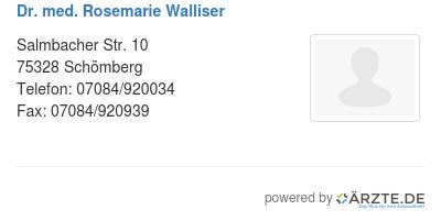 Dr med rosemarie walliser