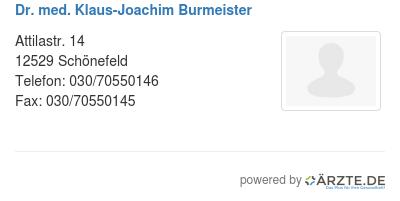 Dr med klaus joachim burmeister