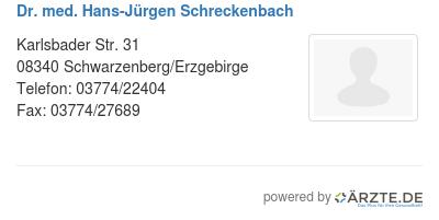 Dr med hans juergen schreckenbach
