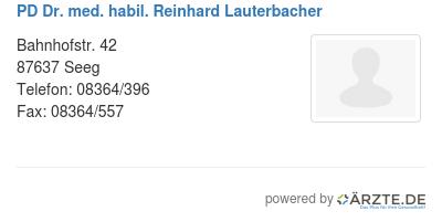 Pd dr med habil reinhard lauterbacher