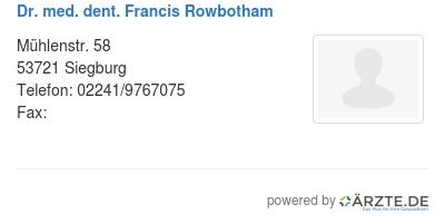Dr med dent francis rowbotham