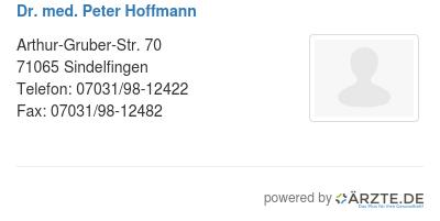 Dr med peter hoffmann