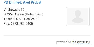 Pd dr med axel probst