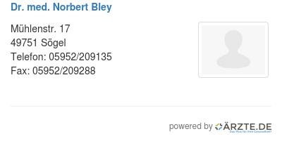Dr med norbert bley