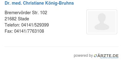 Dr med christiane koenig bruhns 579669