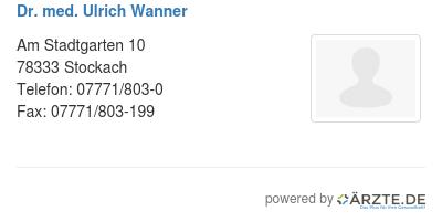 Dr med ulrich wanner