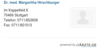 Dr med margaritha hirschburger