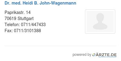 Dr med heidi b john wagenmann