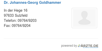 Dr johannes georg goldhammer