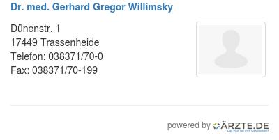Dr med gerhard gregor willimsky
