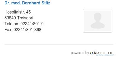 Dr med bernhard stitz