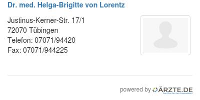 Dr med helga brigitte von lorentz